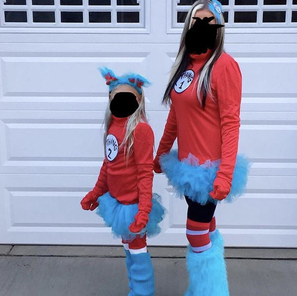 Woman s and child s thing one and thing two Halloween costumes for ... 276fe56fc