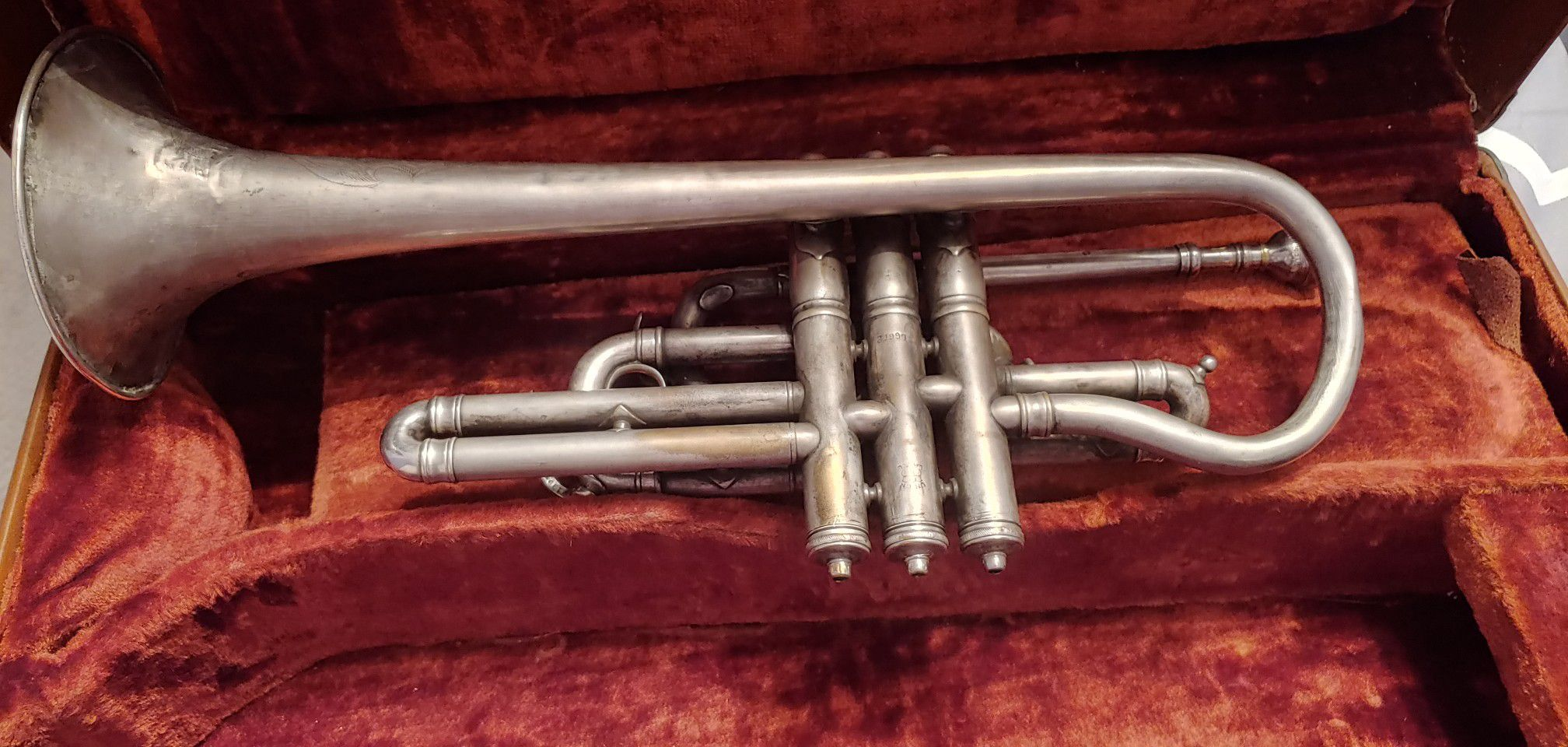 Very old classic 1910 York Trumpet with some engravings.