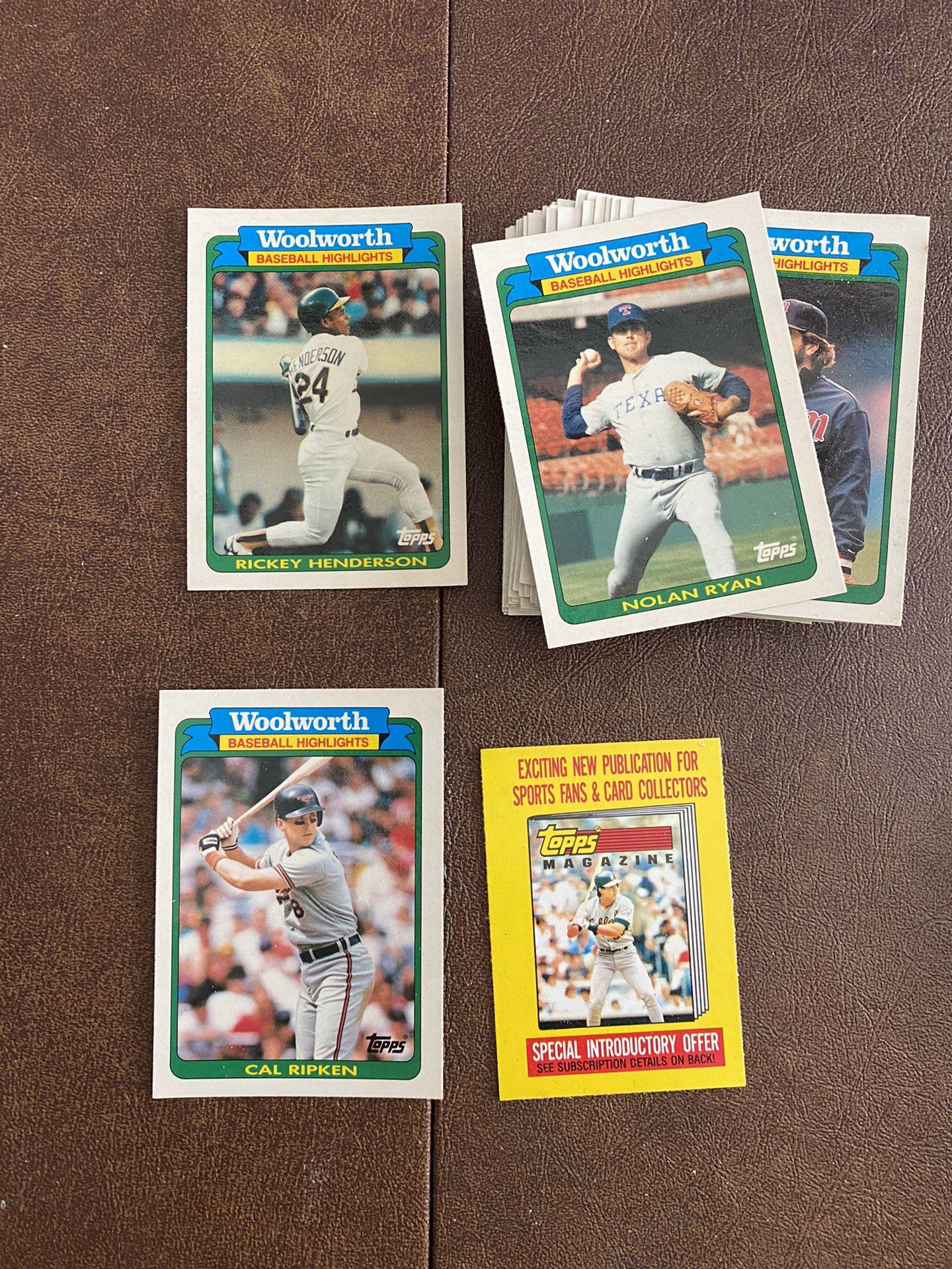 "1990 TOPPS  WOOLWORTH ""BASEBALL HIGHLIGHTS"" 33 CARD SET"