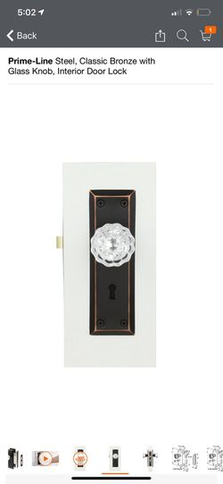 Prime-Line Steel, Classic Bronze with Glass Knob, Interior Door Lock Thumbnail