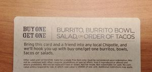 Two Chipotle buy one get one free coupons for Sale in Oakton, VA