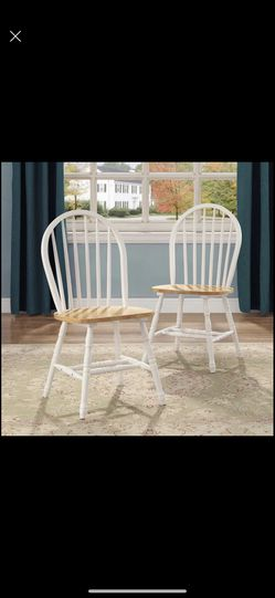 new  (Set of 4) Solid Wood Dining Chairs, White and Oak Thumbnail