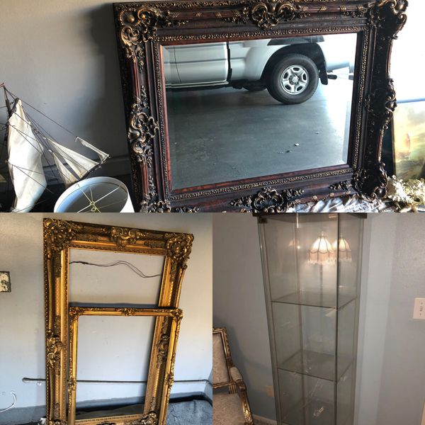 Two Gold Gilt Solid Wood Antique Frames One Large Solid Wood