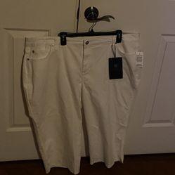 WOMENS BANDOLINO jEANS  WHITE CAPRI PANTS SIZe  22 W  Thumbnail