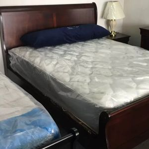 Brand New Queen Size Cherry Wood Sleigh Bed + Mattress Set for Sale in Silver Spring, MD