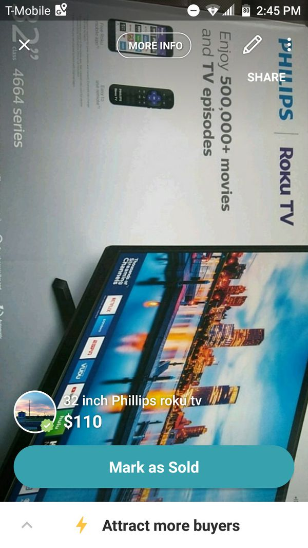 32 inch Roku tv for Sale in Wilmington, NC - OfferUp