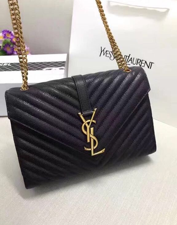 YSL Monogram grained leather shoulder bag color black for Sale in ... fa64ec5affb3b