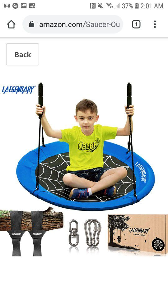 Laegenoary - 40 Inch Flying Saucer Tree Swing for Kids