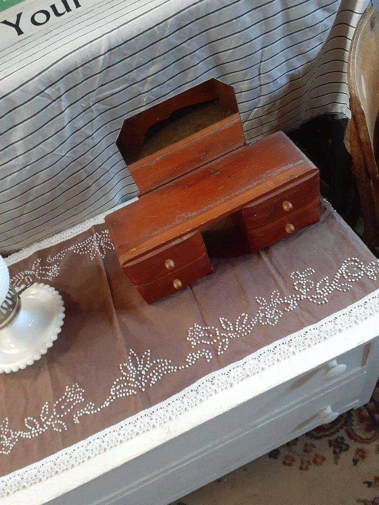 Very Old Cedar Jewery Box With Mirro