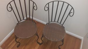 Two metal frames brown outdoor patio chairs for Sale in Arlington, VA