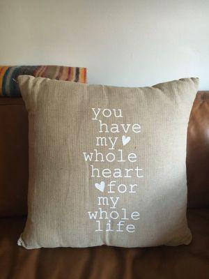"Burlap ""Whole Heart"" decorative wedding pillow for Sale in San Francisco, CA"
