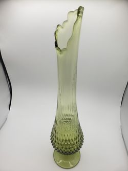 Fenton Large Colonial Green Hobnail Swung Vase  Thumbnail