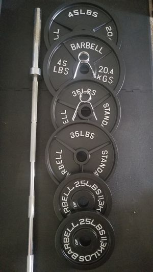 OLYMPIC WEIGHTS AND BAR for Sale in Lakewood, WA