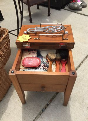 Antique shoe shine kit with wooden case for Sale in Silver Spring, MD