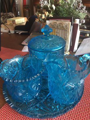 Antique blue glass serving Set for Sale in Chicago, IL