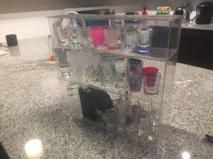 44 shot glasses, 2 flasks, 2 whiskey cups, case for Sale in Tampa, FL