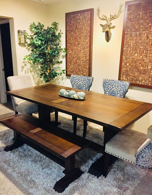 Pleasant Pier 1 Imports Dawson Farmhouse Dining Table Bench And 4 Ocoug Best Dining Table And Chair Ideas Images Ocougorg