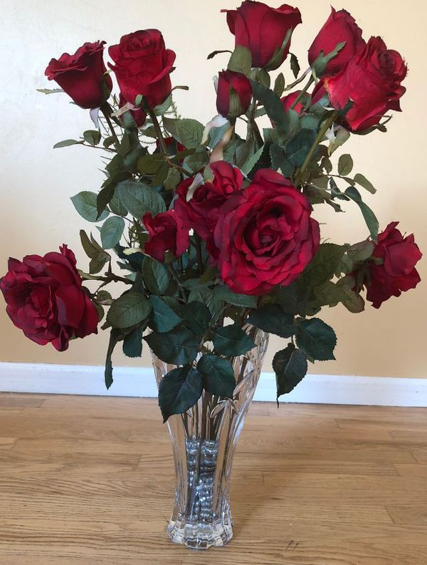 Beautiful Silk Flower Roses And Crystal Vase Gently Used For Sale