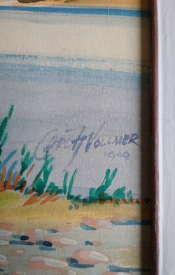 A vintage Mid-century Mod mixed media Mountain landscape Painting by y Carl H. Vollmer dated 1949 Thumbnail