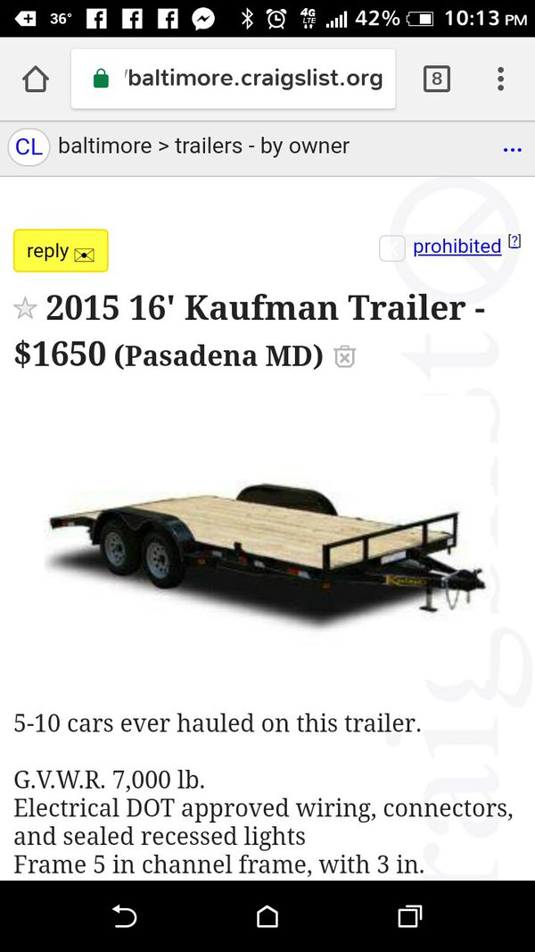 Trailer For Sale In Baltimore Md Offerup
