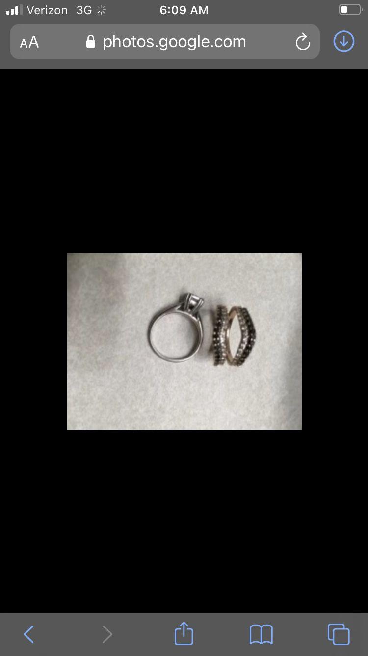 Two karat white and black diamond wedd set rose and white gold