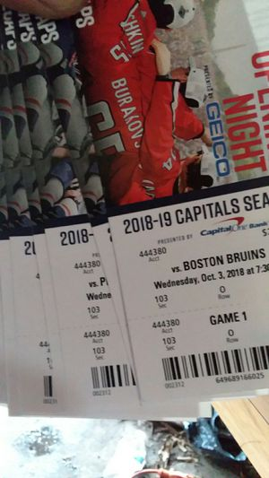 Capitals Season Tickets November 7th/18 to March 20th/19 two tickets per game seat 1&2 for every game, every game is sec103 rowO. COD for Sale in Alexandria, VA
