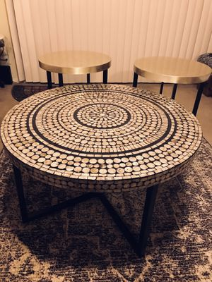 "New set of 3 living room tables handcrafted mosaic coffee 31x18"" end 18x20"" click on my profile picture on this page to check my other listings messa for Sale in Gaithersburg, MD"