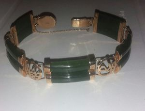 14K Vintag MARKED GOLD Oriental Jade Double Stack Clasp bracelet for Sale in Philadelphia, PA