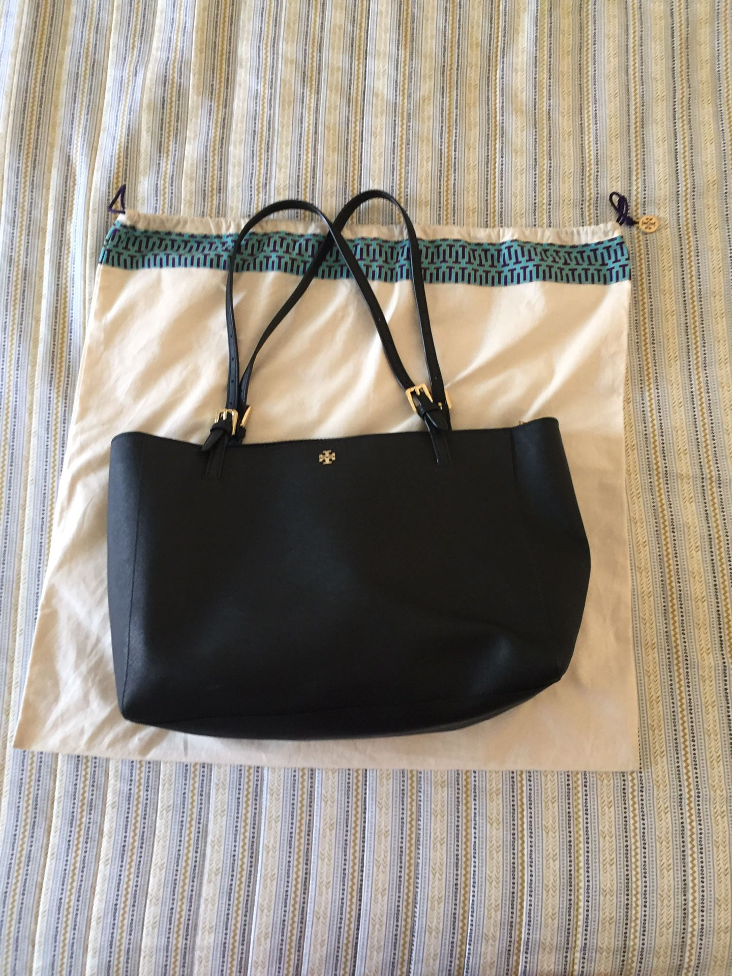 Tory Burch — Large Black, Buckled York Tote DUST BAG INCLUDED