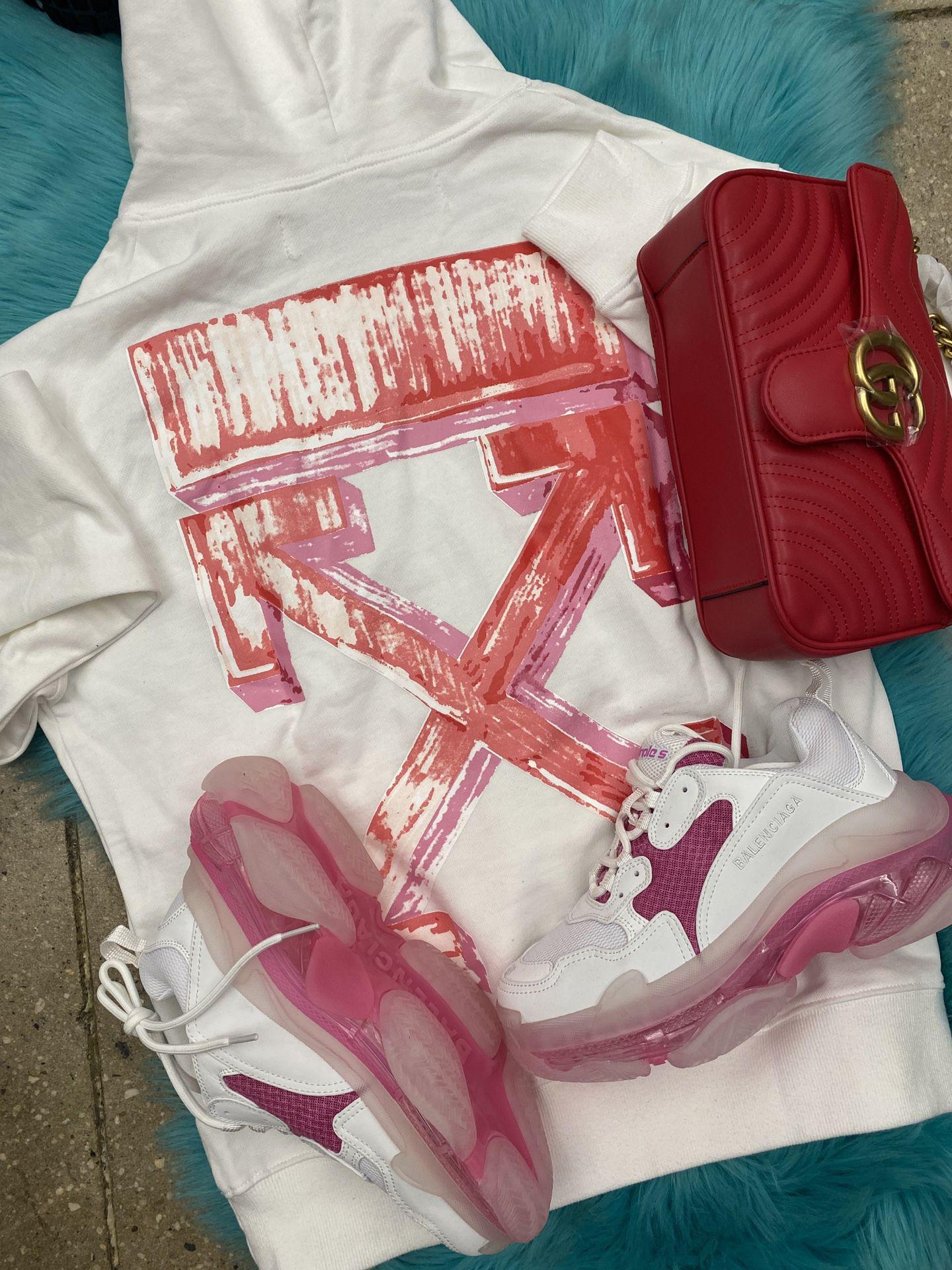 Offwhite Hoodie. Balenciaga Sneakers Gucci Bag