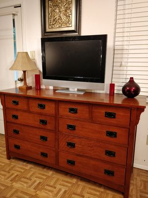 """Like New Big Wooden Dresser/TV stand with big 8 drawers in very good condition, all drawers sliding smoothly, pet free smoke free. L66""""*W19""""*H36"""" for Sale in Annandale, VA"""