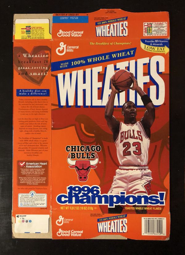 1996 Chicago Bulls Michael Jordan 23 Nba Basketball Champions Commemorative Wheaties Flat For Sale In Citrus Heights Ca Offerup