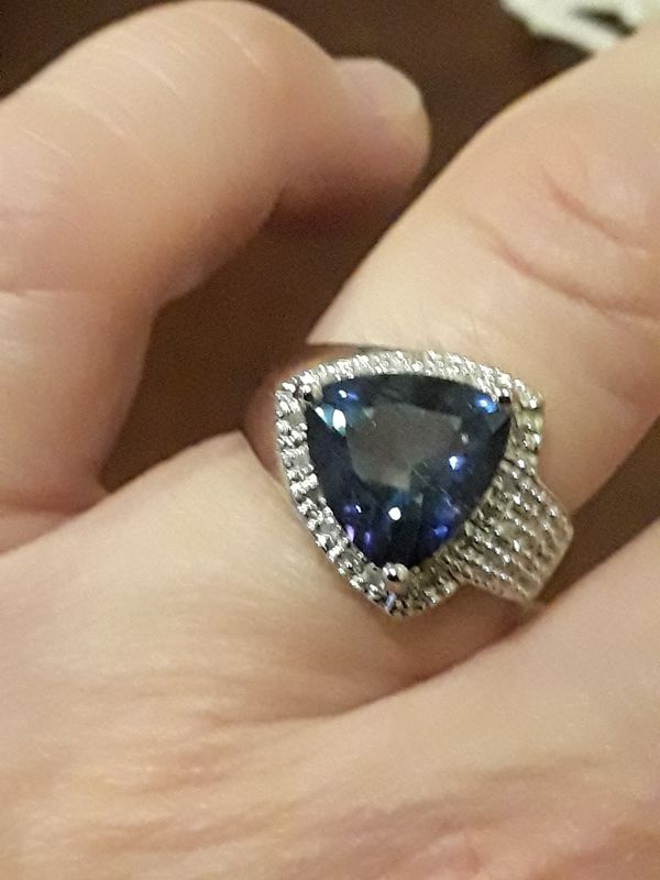 Sterling silver lab Tanzanite and diamond ring for Sale in San Jose, CA -  OfferUp