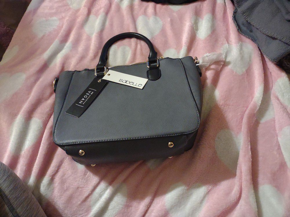 Isabella Gray Vegan Purse With Black Handles Brand New Tags Attached