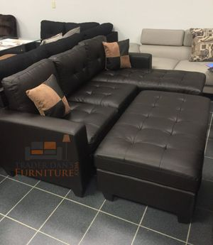 Brand new expresso bonded leather sectional sofa with ottoman for Sale in Silver Spring, MD