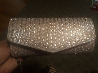 Rose gold heels and clutch sz 10 Thumbnail