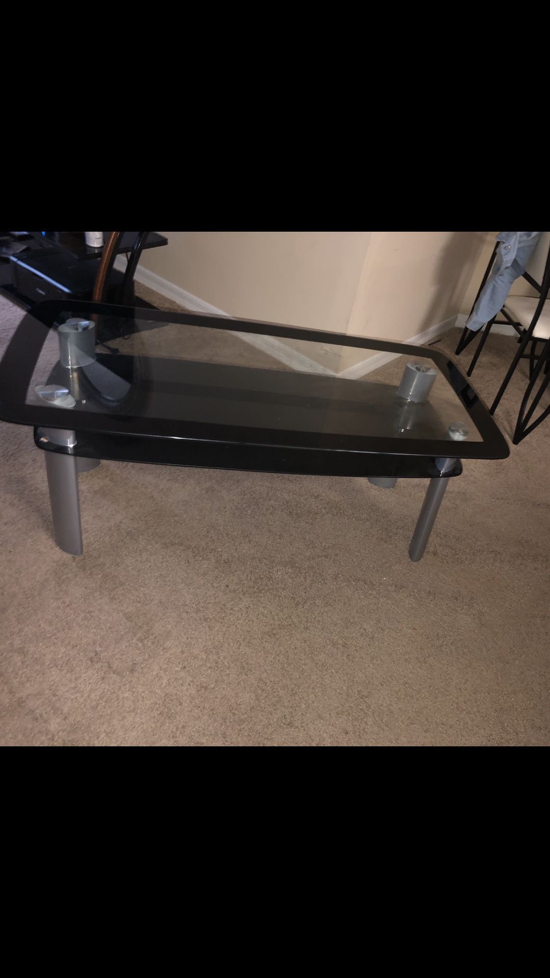 DOUBLE GLASS TABLE!!! Silver legs !
