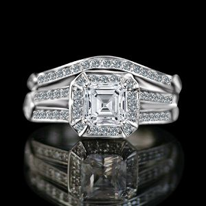 1 Ct. Intensely Radiant Square Center Simulated Diamond-Diamond Veneer Wedding/Engagement Set Sterling Silver Ring. 635R71637 for Sale in San Francisco, CA