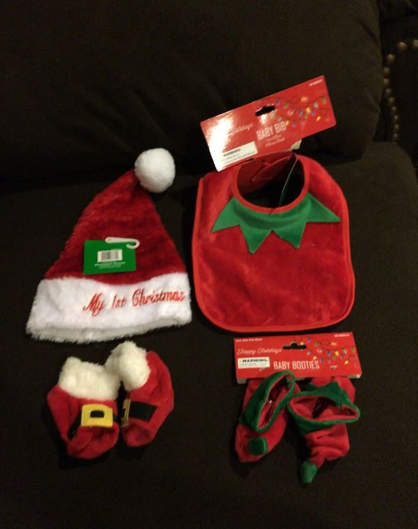 My First Christmas Santa Hat and Shoes   Elf Bib and Shoes Size Newborn for  Sale in Pico Rivera a5c365208a0