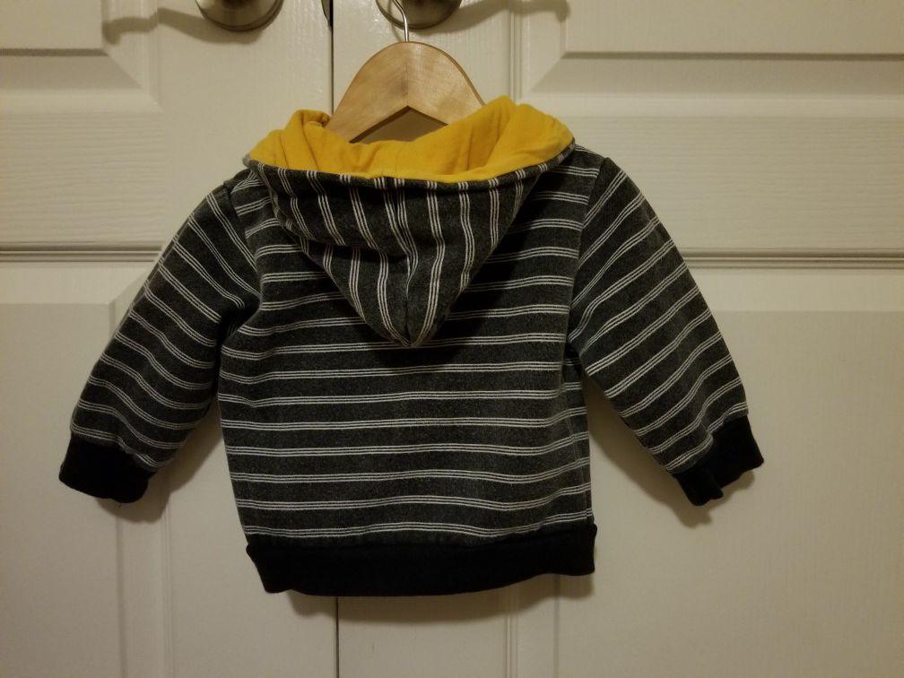 12 month boy Ocean Pacific (OP) may blue and white stripe jacket/coat/zip up hoodie