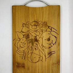 Winnie the pooh laser engraved bamboo high quality cuttingboard pop gift Thumbnail