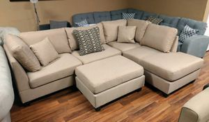 Brand New Sand Color Linen Sectional Sofa Couch +Ottoman for Sale in Silver Spring, MD