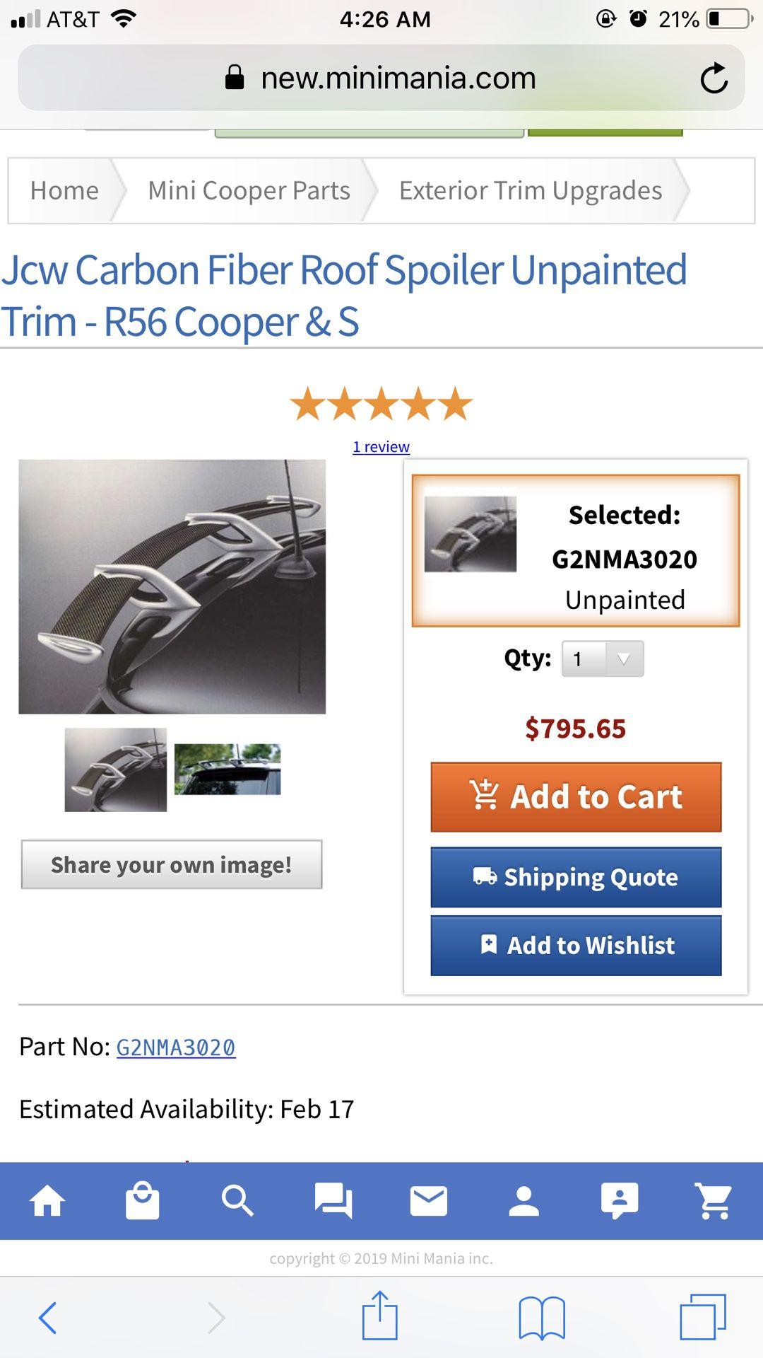 Mini Cooper r56 Jcw Spoiler RARE