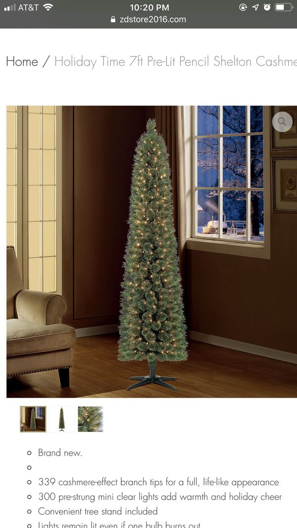 Holiday Time 7ft Pre-Lit Pencil Shelton Cashmere Fir Artificial Christmas  Tree for Sale in Houston, TX - OfferUp