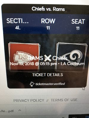 Rams vs Chiefs: 1 ticket, goal line, 11 rows up for Sale in West Los Angeles, CA