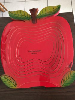 New red fruit basket or for different purpose handmade wood in mexico Thumbnail