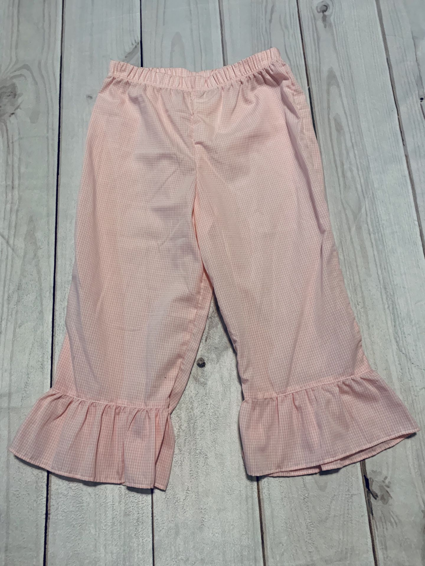 NWT Pink Gingham Ruffle Pants - Size 8