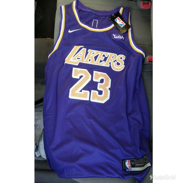 official photos dc3ff 74111 Stitches Lakers LeBron James jersey purple hurry for Sale in San Gabriel,  CA - OfferUp