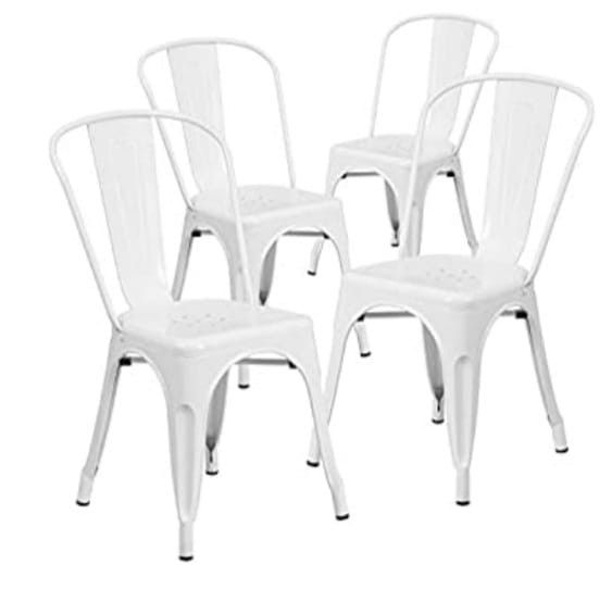 BRAND NEW  Flash Furniture Metal Indoor-Outdoor Chair, 4 Pack, White  Brand: Flash Furniture Model: 4CH31230WH