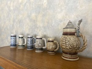 Photo Set of 6 Avon collectible beer steins late 70s early 80s amazing condition